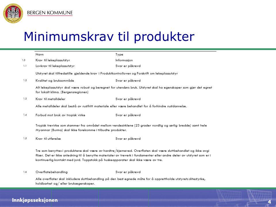 Innkjøpsseksjonen Minimumskrav til produkter NavnType 1.0 Krav til lekeplassutstyrInformasjon 1.1 Lovkrav til lekeplassutstyrSvar er påkrevd Utstyret