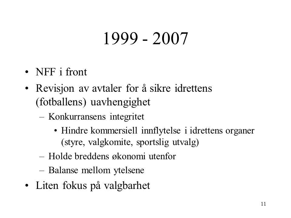 1999 - 2007 NFF i front Revisjon av avtaler for å sikre idrettens (fotballens) uavhengighet –Konkurransens integritet Hindre kommersiell innflytelse i idrettens organer (styre, valgkomite, sportslig utvalg) –Holde breddens økonomi utenfor –Balanse mellom ytelsene Liten fokus på valgbarhet 11