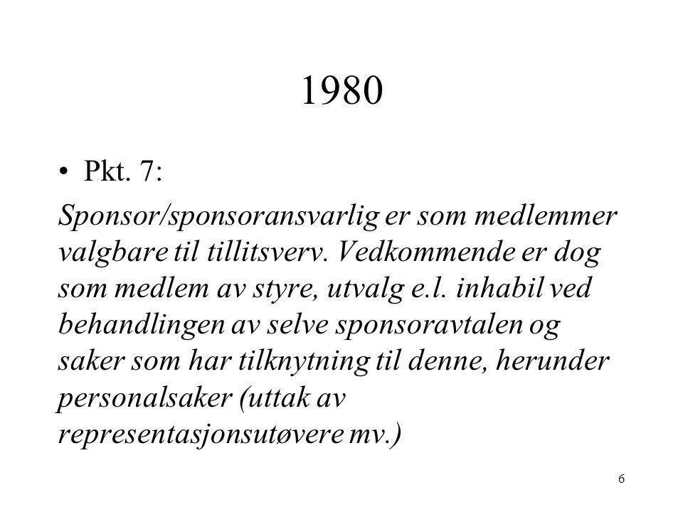 1980 Pkt. 7: Sponsor/sponsoransvarlig er som medlemmer valgbare til tillitsverv.