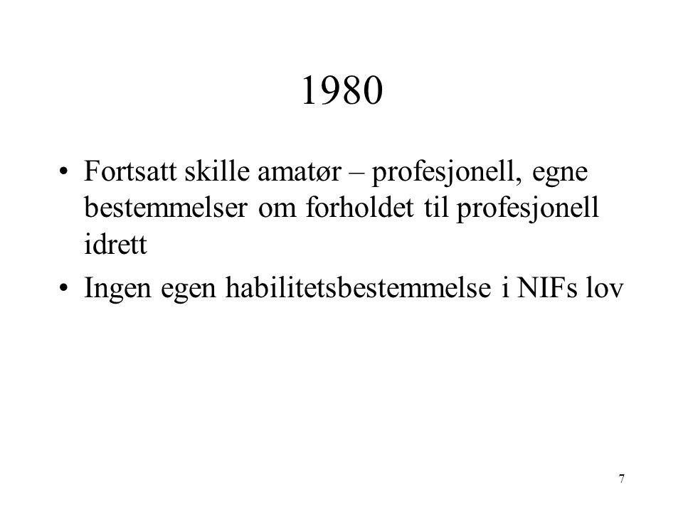 1980 Fortsatt skille amatør – profesjonell, egne bestemmelser om forholdet til profesjonell idrett Ingen egen habilitetsbestemmelse i NIFs lov 7