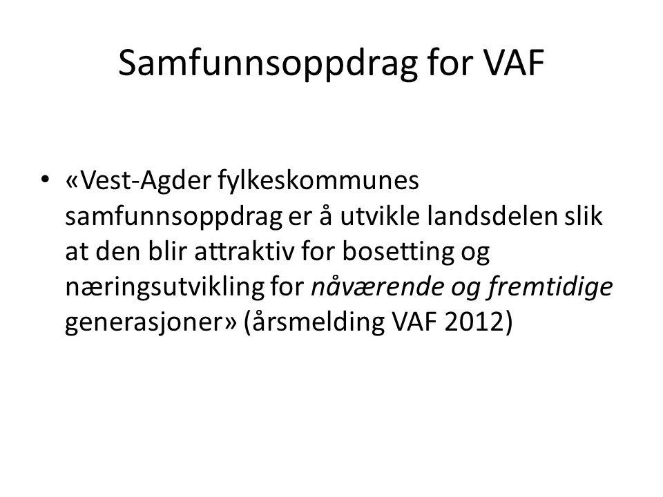 Samfunnsoppdrag for VAF «Vest-Agder fylkeskommunes samfunnsoppdrag er å utvikle landsdelen slik at den blir attraktiv for bosetting og næringsutviklin