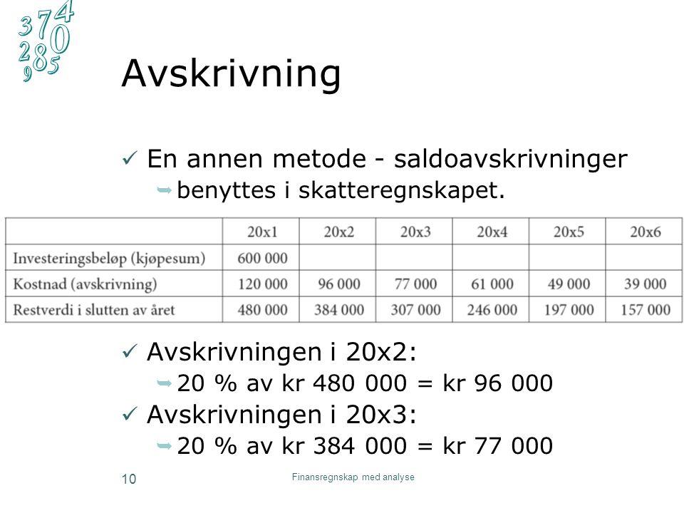 Avskrivning En annen metode - saldoavskrivninger  benyttes i skatteregnskapet. Avskrivningen i 20x2:  20 % av kr 480 000 = kr 96 000 Avskrivningen i