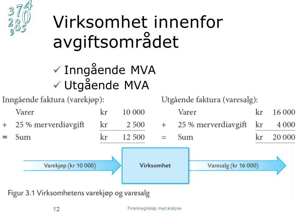Virksomhet innenfor avgiftsområdet Inngående MVA Utgående MVA Finansregnskap med analyse 12 =