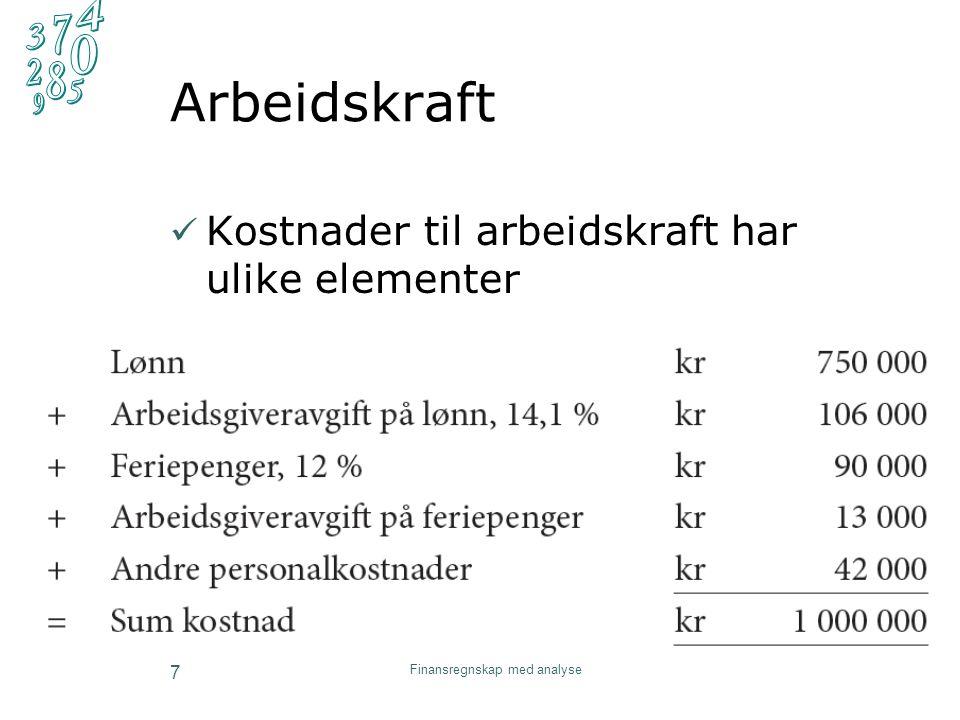 Grunnleggende regnskap 8 Kostnad/utgift/utbetaling 1.1.