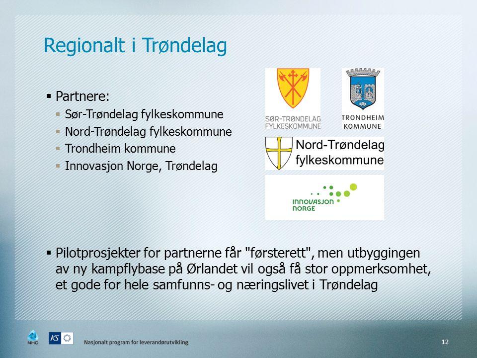 Regionalt i Trøndelag  Partnere:  Sør-Trøndelag fylkeskommune  Nord-Trøndelag fylkeskommune  Trondheim kommune  Innovasjon Norge, Trøndelag  Pilotprosjekter for partnerne får førsterett , men utbyggingen av ny kampflybase på Ørlandet vil også få stor oppmerksomhet, et gode for hele samfunns- og næringslivet i Trøndelag 12