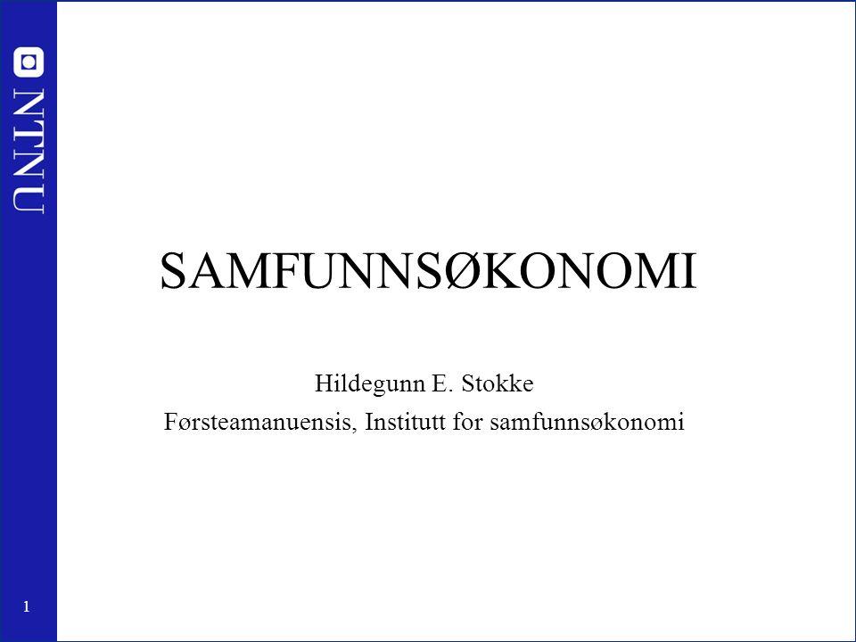 1 SAMFUNNSØKONOMI Hildegunn E. Stokke Førsteamanuensis, Institutt for samfunnsøkonomi