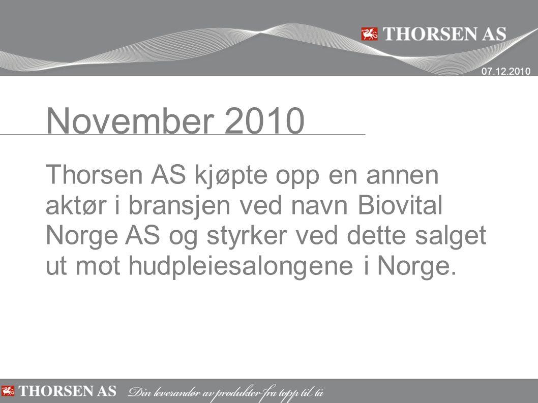 November 2010 Thorsen AS kjøpte opp en annen aktør i bransjen ved navn Biovital Norge AS og styrker ved dette salget ut mot hudpleiesalongene i Norge.