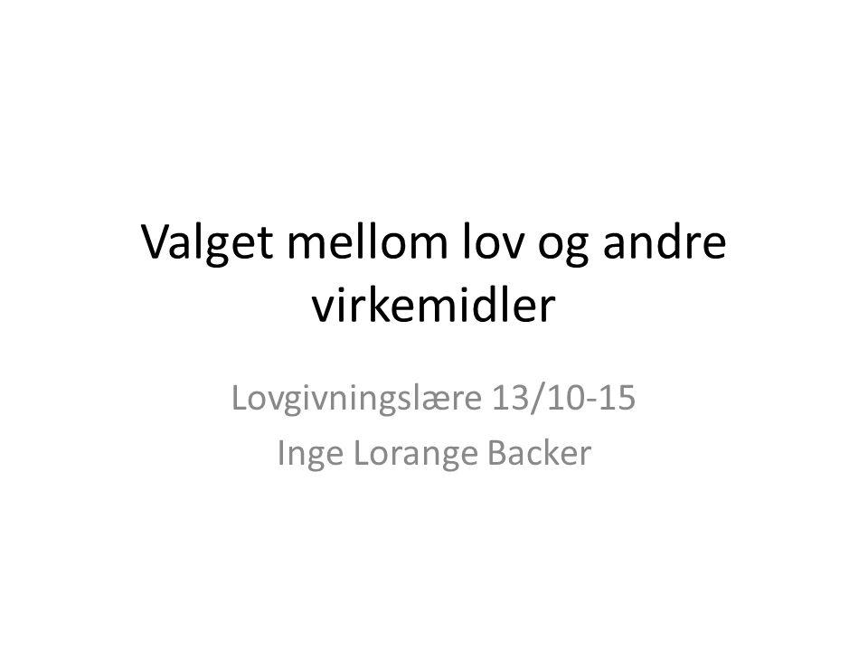 Valget mellom lov og andre virkemidler Lovgivningslære 13/10-15 Inge Lorange Backer