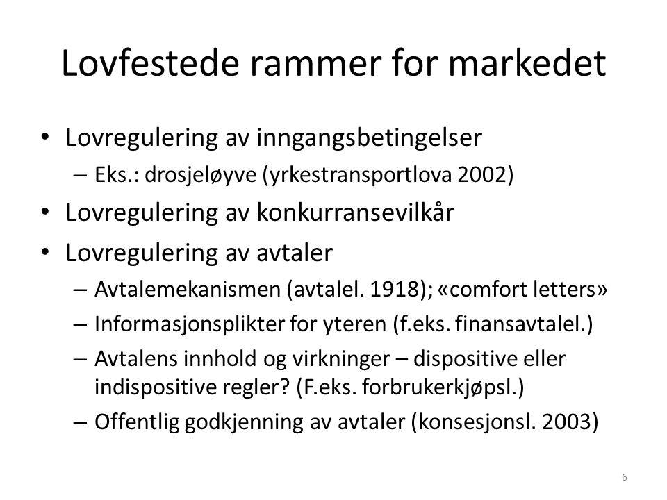 Lovfestede rammer for markedet Lovregulering av inngangsbetingelser – Eks.: drosjeløyve (yrkestransportlova 2002) Lovregulering av konkurransevilkår Lovregulering av avtaler – Avtalemekanismen (avtalel.