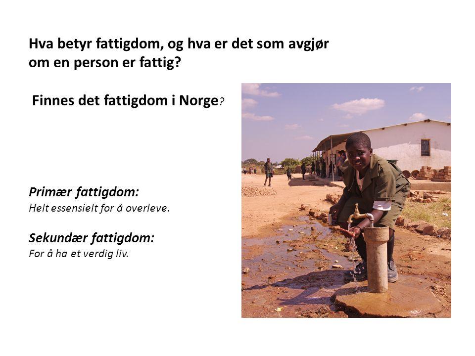 Hva betyr fattigdom, og hva er det som avgjør om en person er fattig? Finnes det fattigdom i Norge ? Primær fattigdom: Helt essensielt for å overleve.