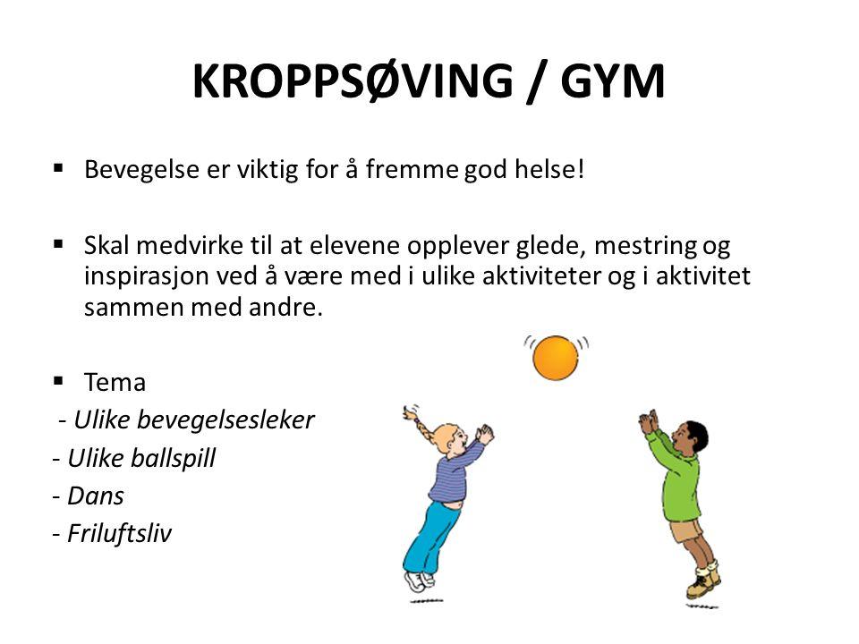 KROPPSØVING / GYM  Bevegelse er viktig for å fremme god helse.