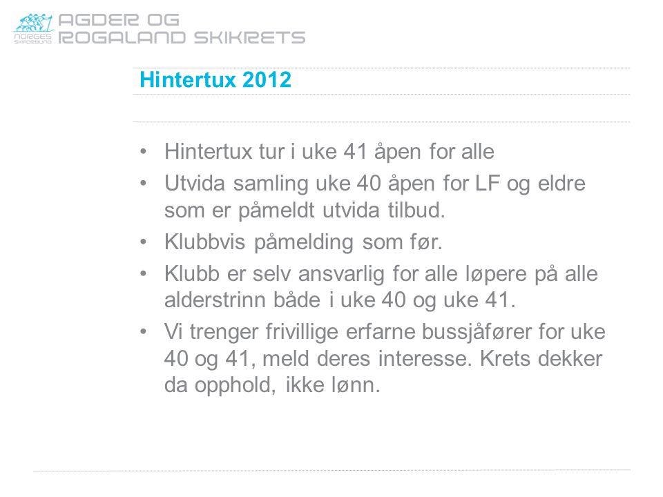 Hintertux 2012 Hintertux tur i uke 41 åpen for alle Utvida samling uke 40 åpen for LF og eldre som er påmeldt utvida tilbud. Klubbvis påmelding som fø