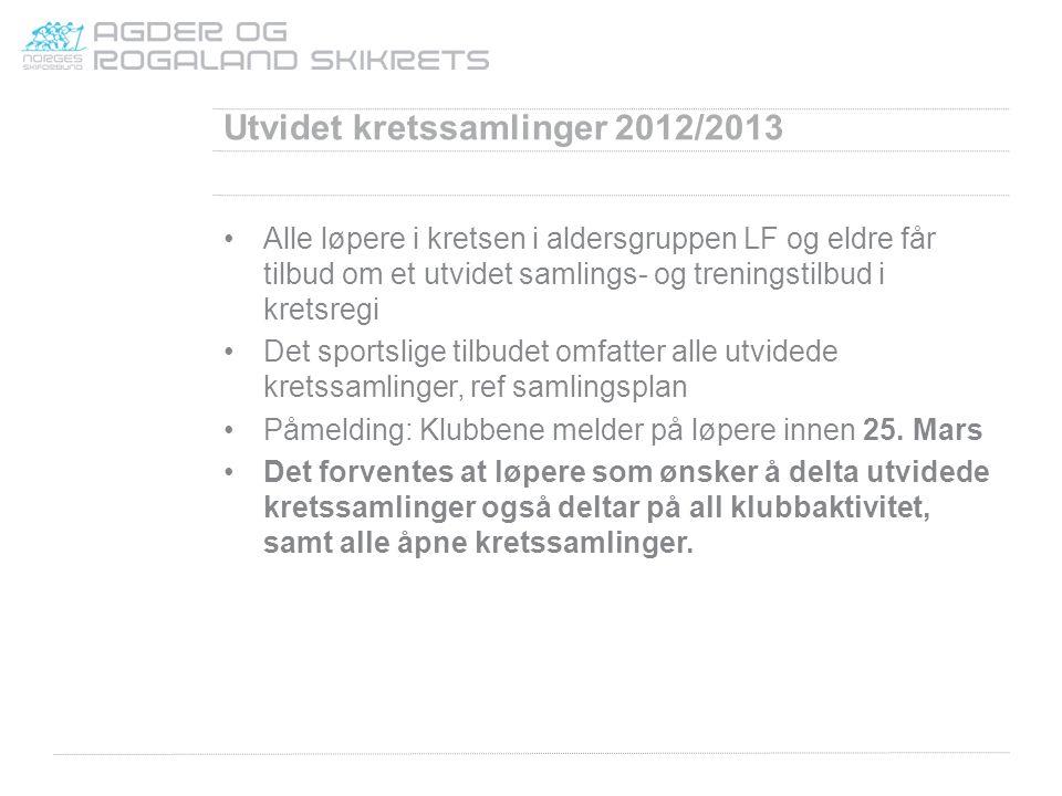 Utvidet kretssamlinger 2012/2013 Alle løpere i kretsen i aldersgruppen LF og eldre får tilbud om et utvidet samlings- og treningstilbud i kretsregi De