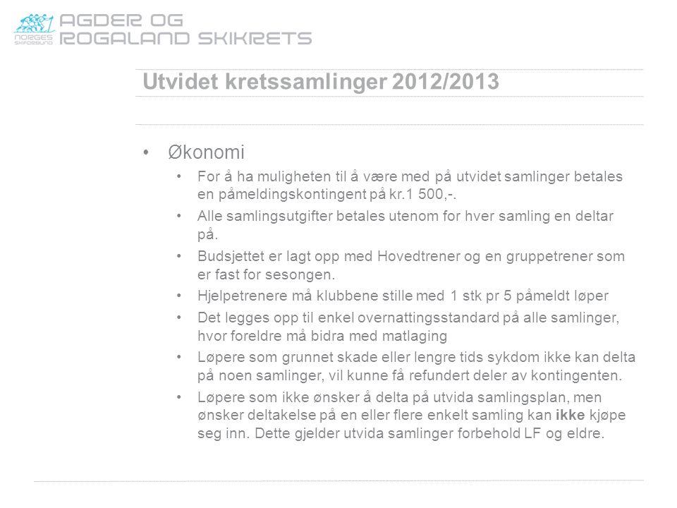 Utvidet kretssamlinger 2012/2013 Økonomi For å ha muligheten til å være med på utvidet samlinger betales en påmeldingskontingent på kr.1 500,-. Alle s