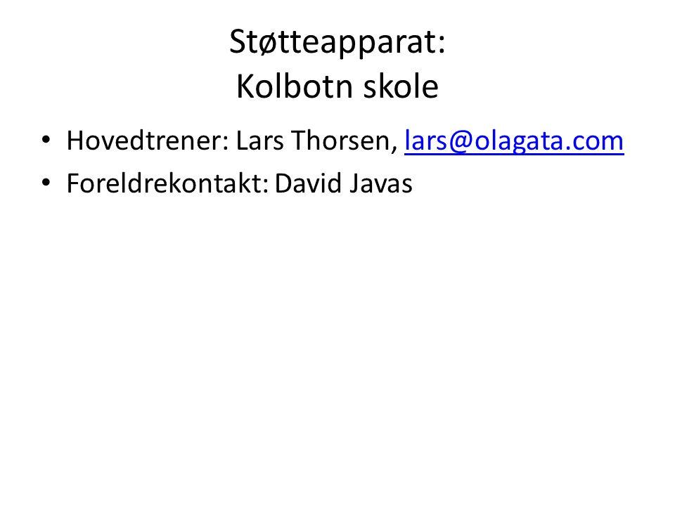 Støtteapparat: Kolbotn skole Hovedtrener: Lars Thorsen, lars@olagata.comlars@olagata.com Foreldrekontakt: David Javas