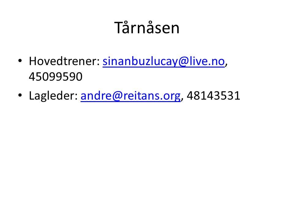 Tårnåsen Hovedtrener: sinanbuzlucay@live.no, 45099590sinanbuzlucay@live.no Lagleder: andre@reitans.org, 48143531andre@reitans.org