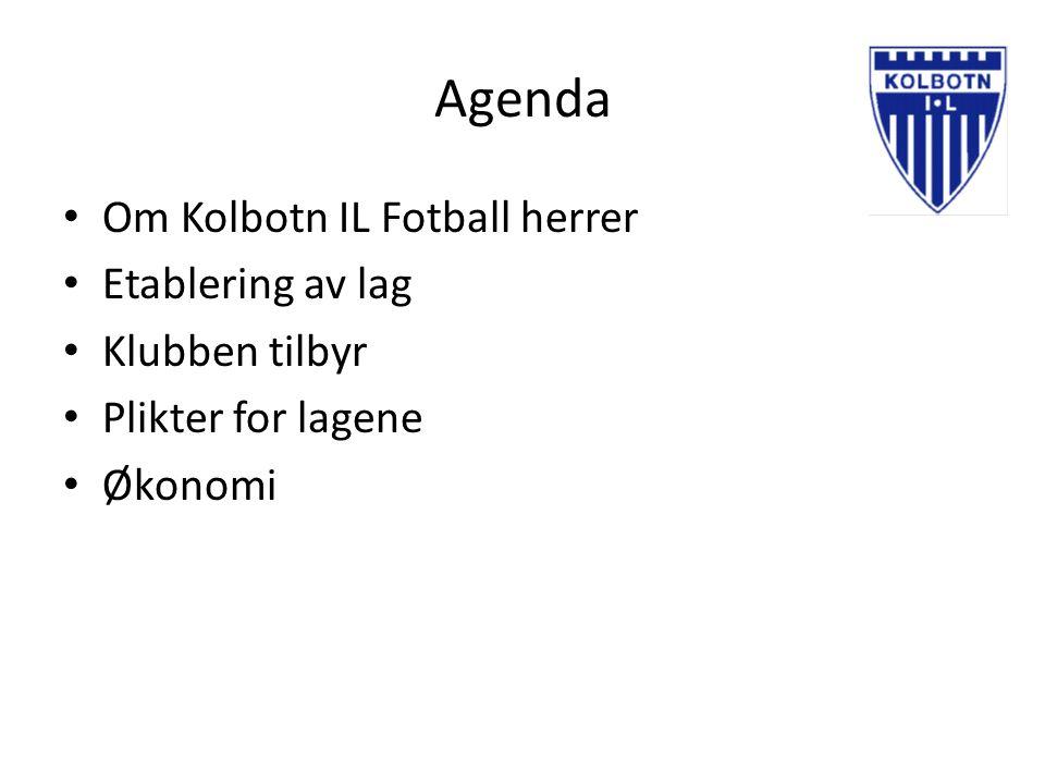 Agenda Om Kolbotn IL Fotball herrer Etablering av lag Klubben tilbyr Plikter for lagene Økonomi