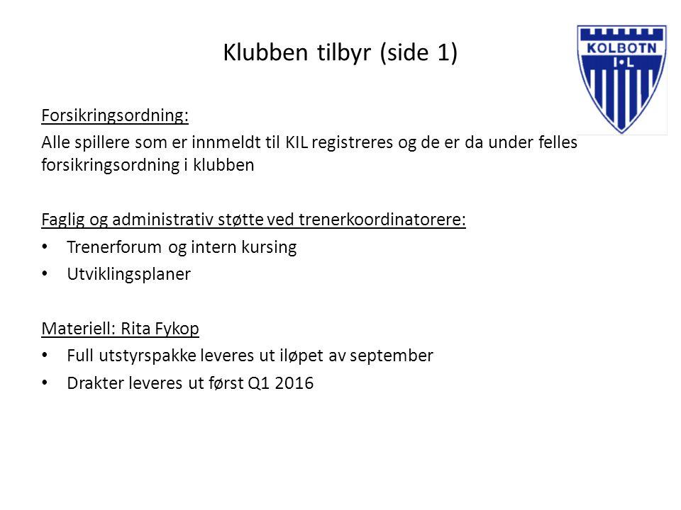 Klubben tilbyr (side 2) Treningstid: Tilbud om trening inne settes opp av fotballkoordinator.