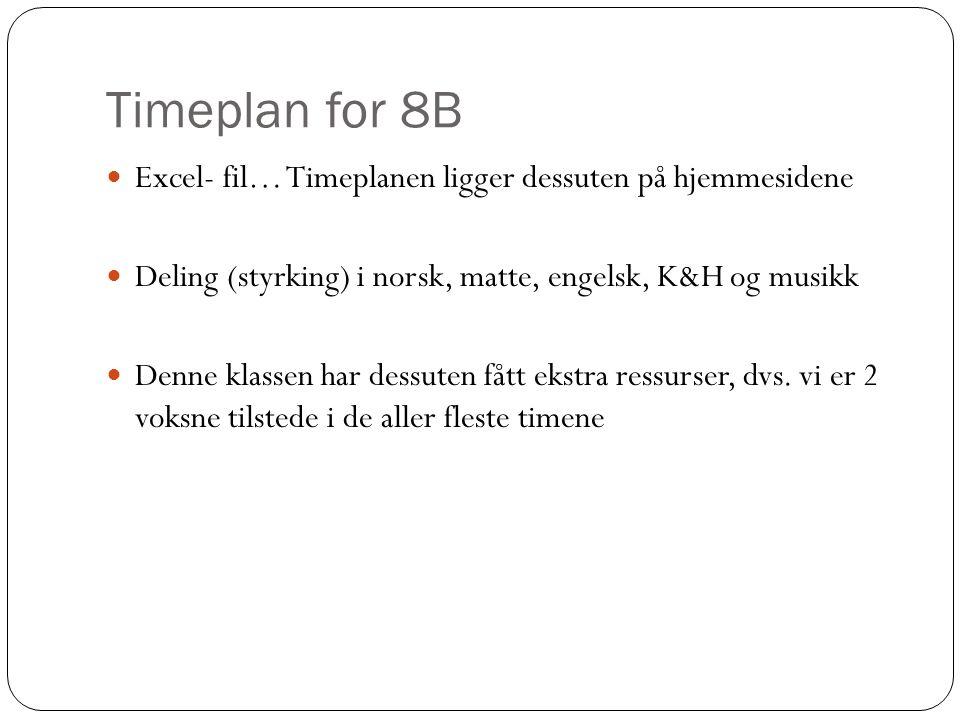 Timeplan for 8B Excel- fil… Timeplanen ligger dessuten på hjemmesidene Deling (styrking) i norsk, matte, engelsk, K&H og musikk Denne klassen har dess