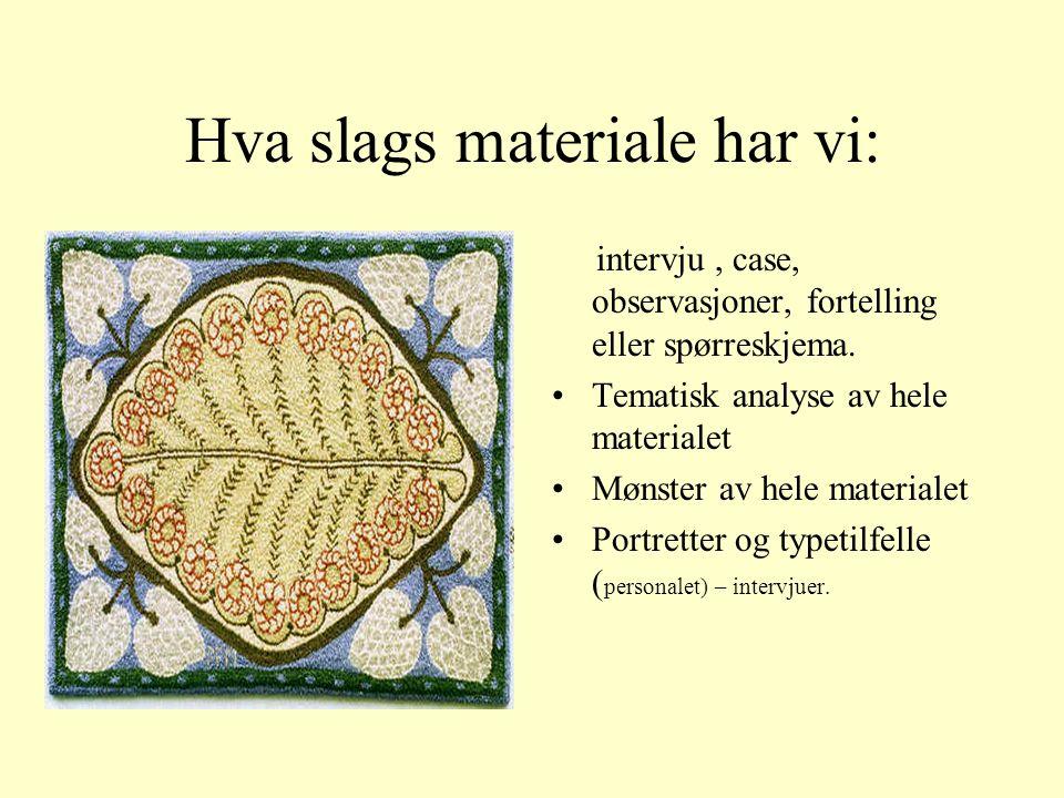 Hva slags materiale har vi: intervju, case, observasjoner, fortelling eller spørreskjema.