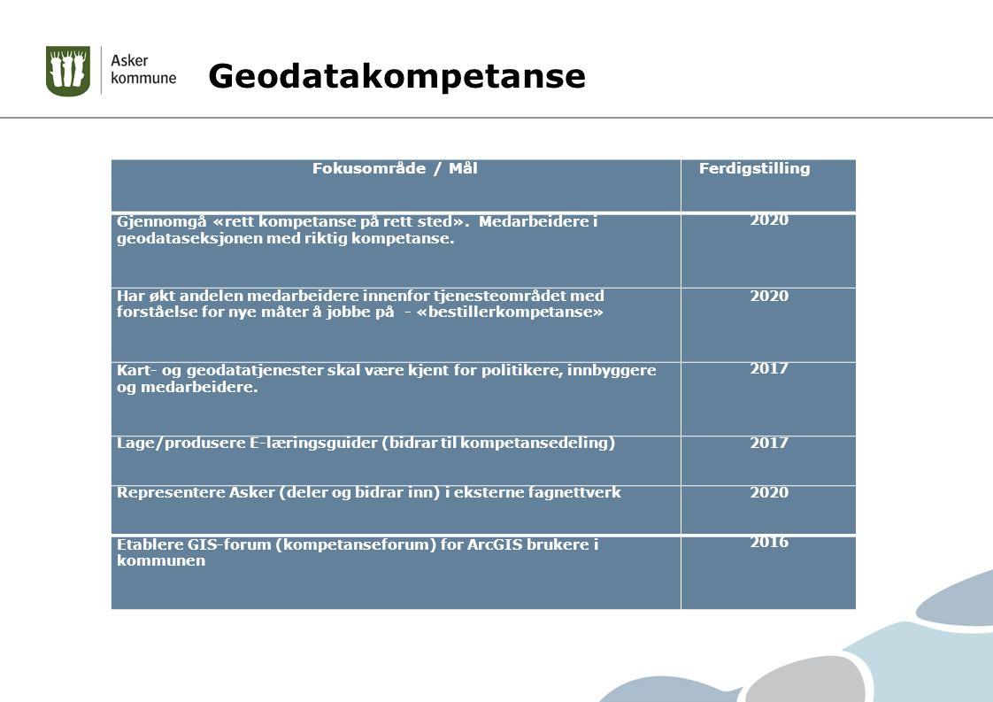 Geodatakompetanse Fokusområde / MålFerdigstilling Gjennomgå «rett kompetanse på rett sted».