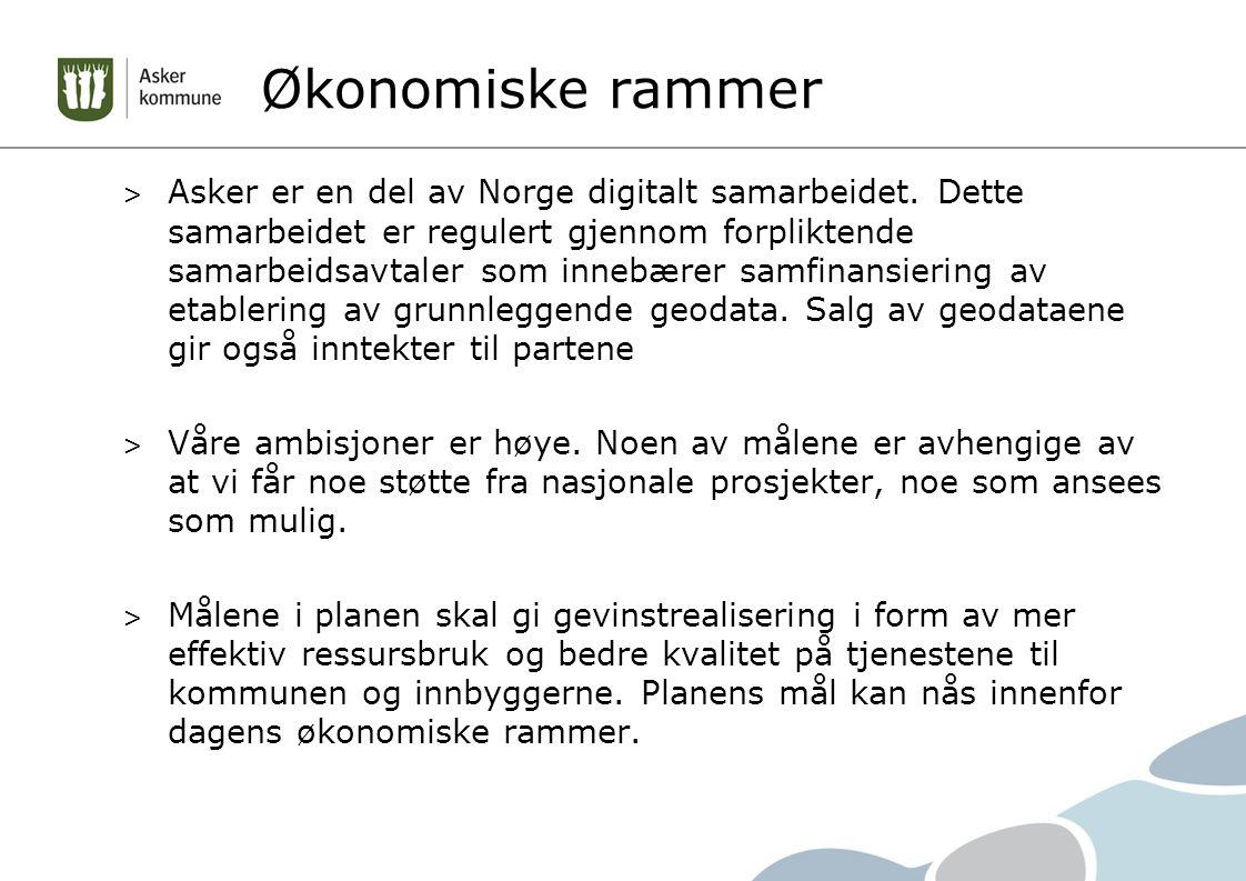 Asker i et nasjonalt bilde Forvaltning av kartdata Førende for dette arbeidet er det avtalefestede samarbeidet i «Norge digitalt» og «Geovekst» Asker har i dag grunnkartdata og plandata med høy kvalitet- oppdaterte data er tilgjengelige i kartet dagen etter.