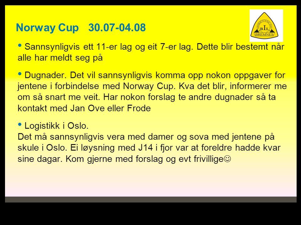 Norway Cup 30.07-04.08 Sannsynligvis ett 11-er lag og eit 7-er lag.