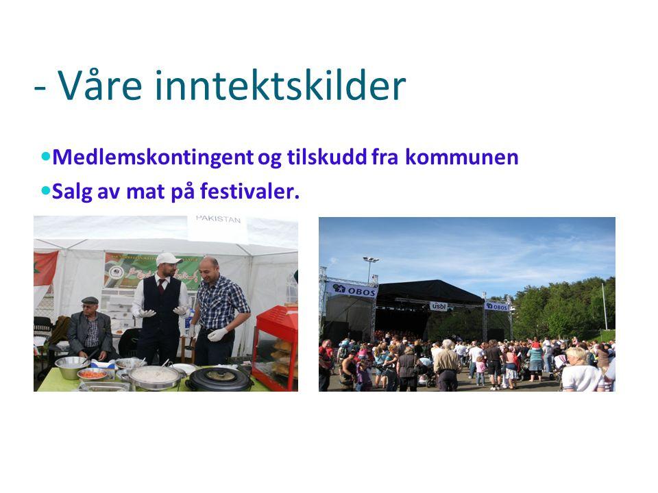 - Våre inntektskilder Medlemskontingent og tilskudd fra kommunen Salg av mat på festivaler.