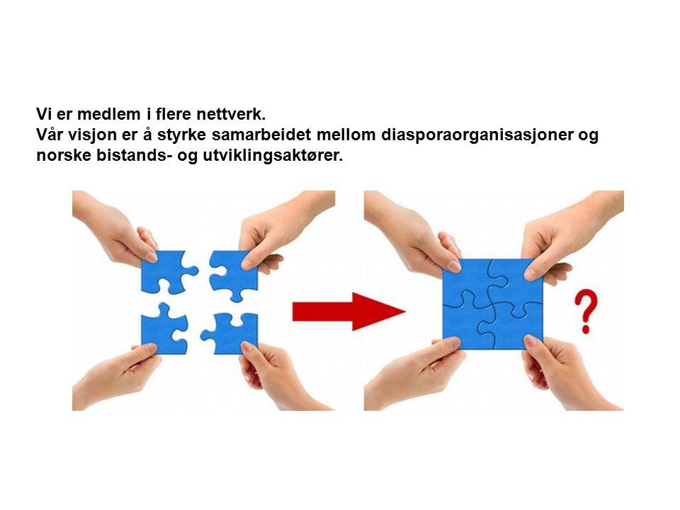 Vi er medlem i flere nettverk. Vår visjon er å styrke samarbeidet mellom diasporaorganisasjoner og norske bistands- og utviklingsaktører.