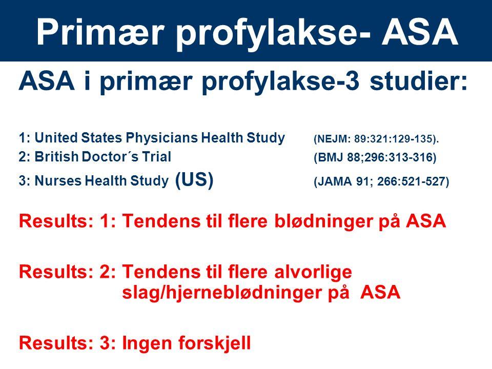 14 Primær profylakse- ASA ASA i primær profylakse-3 studier: 1: United States Physicians Health Study (NEJM: 89:321:129-135). 2: British Doctor´s Tria