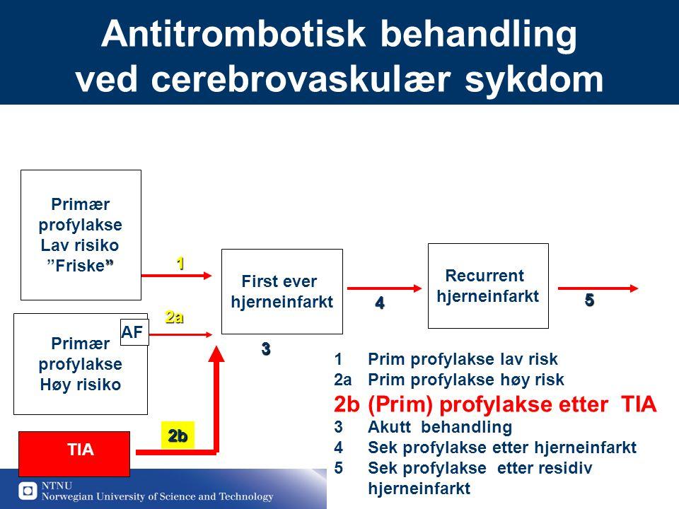 """18 Antitrombotisk behandling ved cerebrovaskulær sykdom Primær profylakse Lav risiko """" """"Friske"""" First ever hjerneinfarkt Recurrent hjerneinfarkt Primæ"""