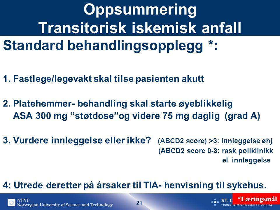 21 Oppsummering Transitorisk iskemisk anfall Standard behandlingsopplegg *: 1. Fastlege/legevakt skal tilse pasienten akutt 2. Platehemmer- behandling