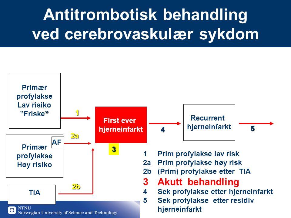 """22 Antitrombotisk behandling ved cerebrovaskulær sykdom Primær profylakse Lav risiko """" """"Friske"""" First ever hjerneinfarkt Recurrent hjerneinfarkt Primæ"""