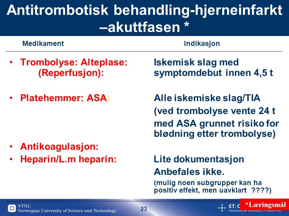 23 Antitrombotisk behandling-hjerneinfarkt –akuttfasen * Trombolyse: Alteplase: Iskemisk slag med (Reperfusjon):symptomdebut innen 4,5 t Platehemmer: