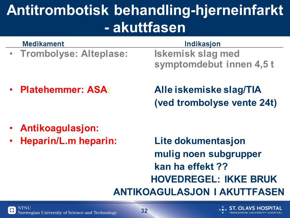 32 Antitrombotisk behandling-hjerneinfarkt - akuttfasen Trombolyse: Alteplase: Iskemisk slag med symptomdebut innen 4,5 t Platehemmer: ASA:Alle iskemiske slag/TIA (ved trombolyse vente 24t) Antikoagulasjon: Heparin/L.m heparin: Lite dokumentasjon mulig noen subgrupper kan ha effekt .