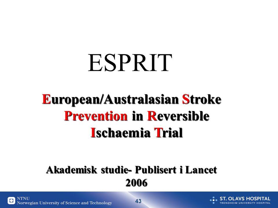 43 ESPRIT European/Australasian Stroke Prevention in Reversible Ischaemia Trial Akademisk studie- Publisert i Lancet 2006