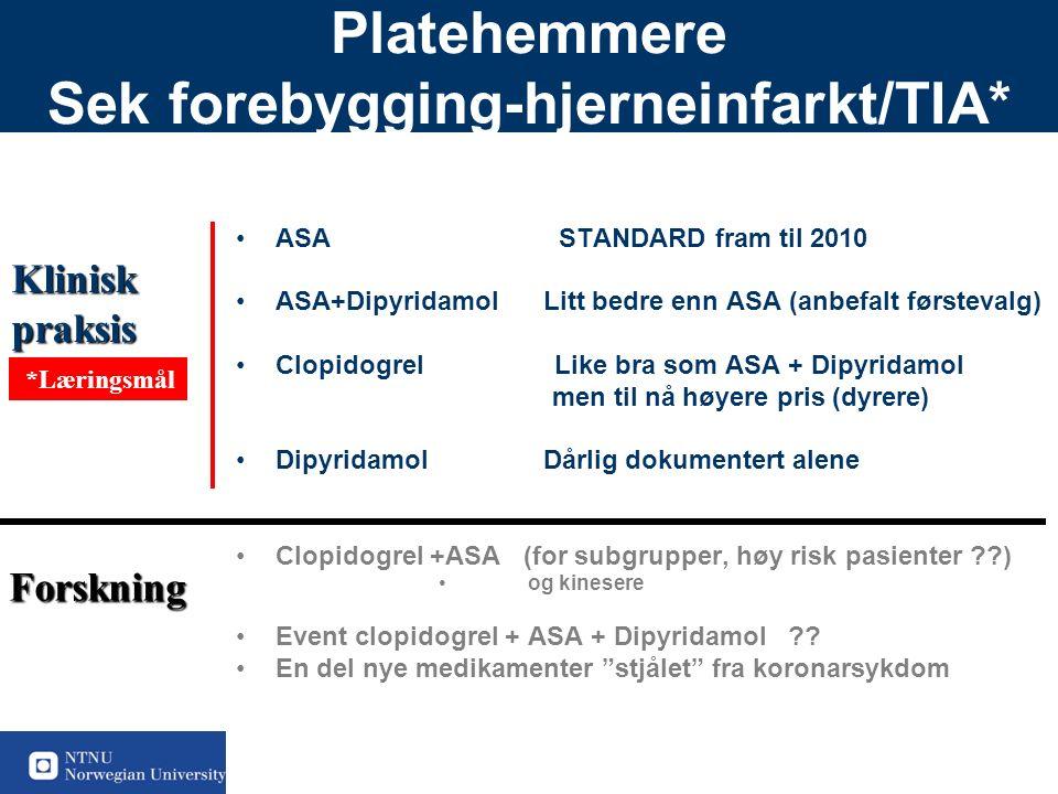 47 Platehemmere Sek forebygging-hjerneinfarkt/TIA* ASA STANDARD fram til 2010 ASA+Dipyridamol Litt bedre enn ASA (anbefalt førstevalg) Clopidogrel Like bra som ASA + Dipyridamol men til nå høyere pris (dyrere) Dipyridamol Dårlig dokumentert alene Clopidogrel +ASA (for subgrupper, høy risk pasienter ) og kinesere Event clopidogrel + ASA + Dipyridamol .