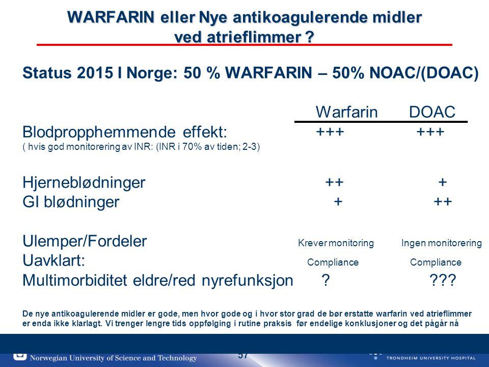 57 WARFARIN eller Nye antikoagulerende midler ved atrieflimmer ? Status 2015 I Norge: 50 % WARFARIN – 50% NOAC/(DOAC) Warfarin DOAC Blodpropphemmende