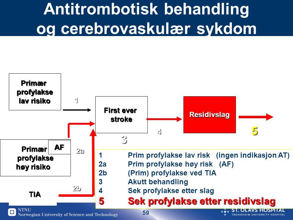 59 Antitrombotisk behandling og cerebrovaskulær sykdomPrimærprofylakse lav risiko First ever strokeResidivslag Primærprofylakse høy risiko TIA 1 2b 3
