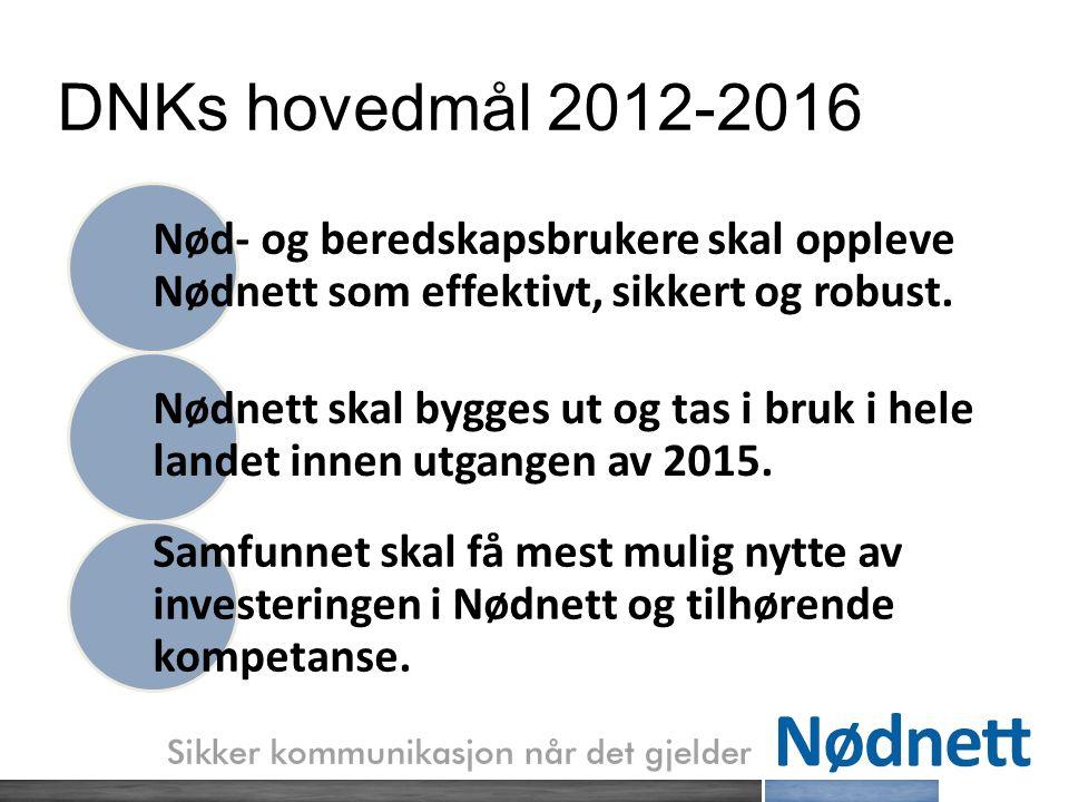 DNKs hovedmål 2012-2016 Nød- og beredskapsbrukere skal oppleve Nødnett som effektivt, sikkert og robust.