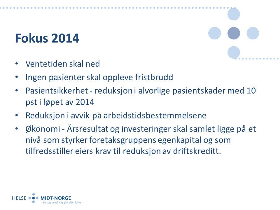 Fokus 2014 Ventetiden skal ned Ingen pasienter skal oppleve fristbrudd Pasientsikkerhet - reduksjon i alvorlige pasientskader med 10 pst i løpet av 20