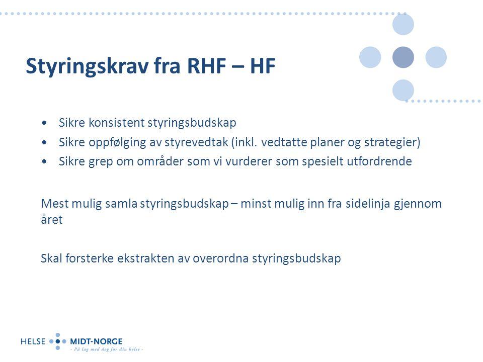 Styringskrav fra RHF – HF Sikre konsistent styringsbudskap Sikre oppfølging av styrevedtak (inkl. vedtatte planer og strategier) Sikre grep om områder