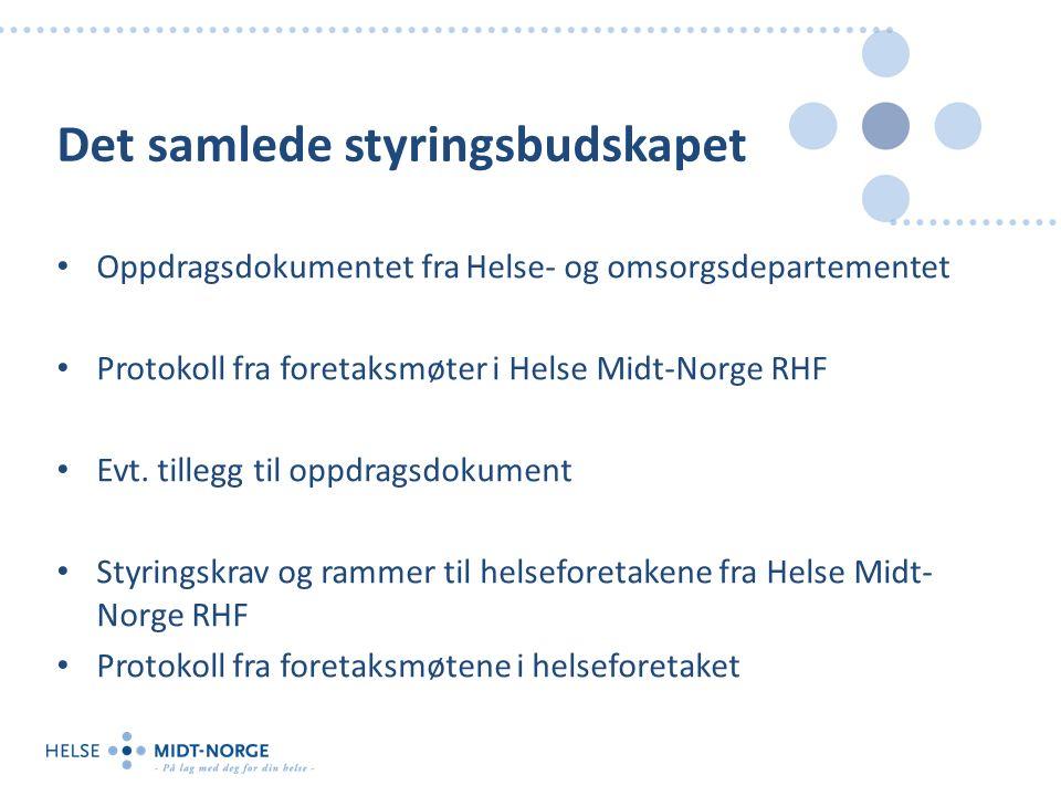 Det samlede styringsbudskapet Oppdragsdokumentet fra Helse- og omsorgsdepartementet Protokoll fra foretaksmøter i Helse Midt-Norge RHF Evt. tillegg ti