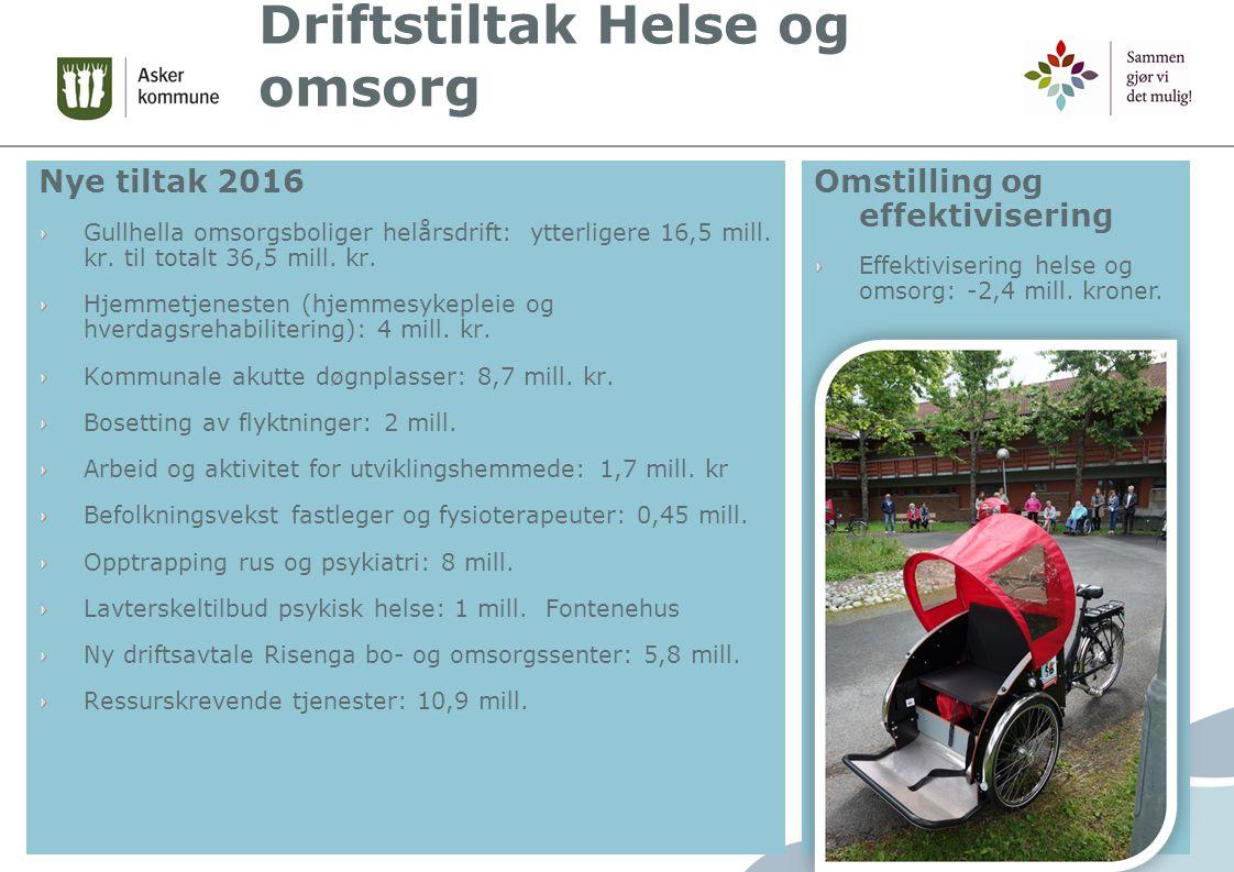 Driftstiltak Helse og omsorg Nye tiltak 2016 Gullhella omsorgsboliger helårsdrift: ytterligere 16,5 mill.
