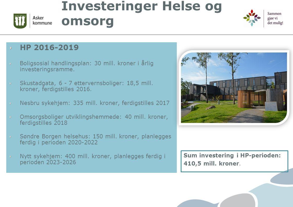 Investeringer Helse og omsorg HP 2016-2019 Boligsosial handlingsplan: 30 mill.