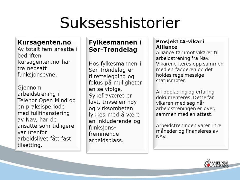Suksesshistorier Kursagenten.no Av totalt fem ansatte i bedriften Kursagenten.no har tre nedsatt funksjonsevne.