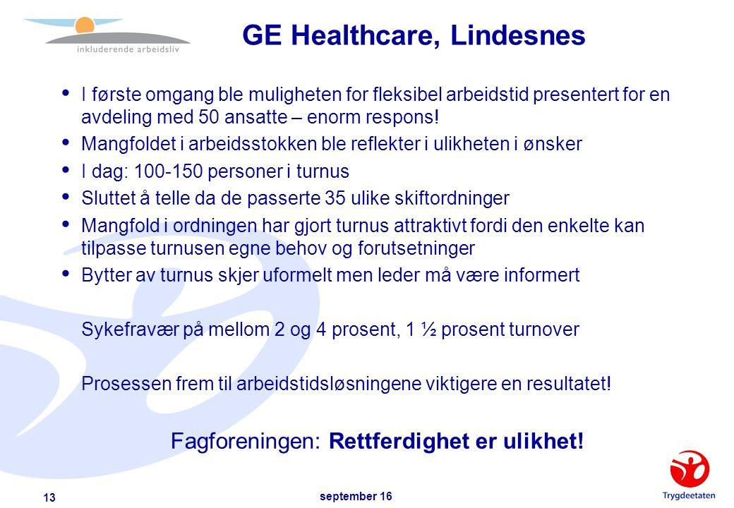 september 16 13 GE Healthcare, Lindesnes  I første omgang ble muligheten for fleksibel arbeidstid presentert for en avdeling med 50 ansatte – enorm respons.