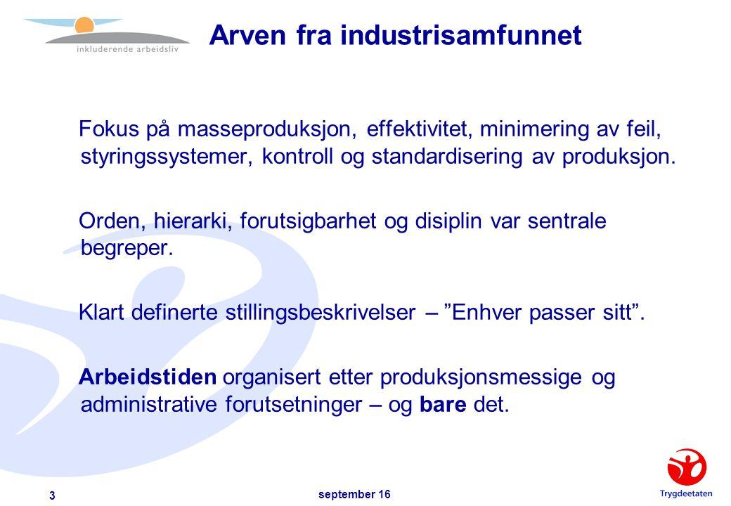 september 16 3 Arven fra industrisamfunnet Fokus på masseproduksjon, effektivitet, minimering av feil, styringssystemer, kontroll og standardisering av produksjon.