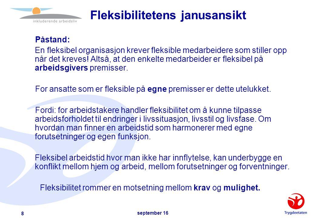 september 16 9 Arbeidsgiver Arbeidstaker Fleksibilitet + Fleksibilitet = Anarki og Kaos Eller…..?