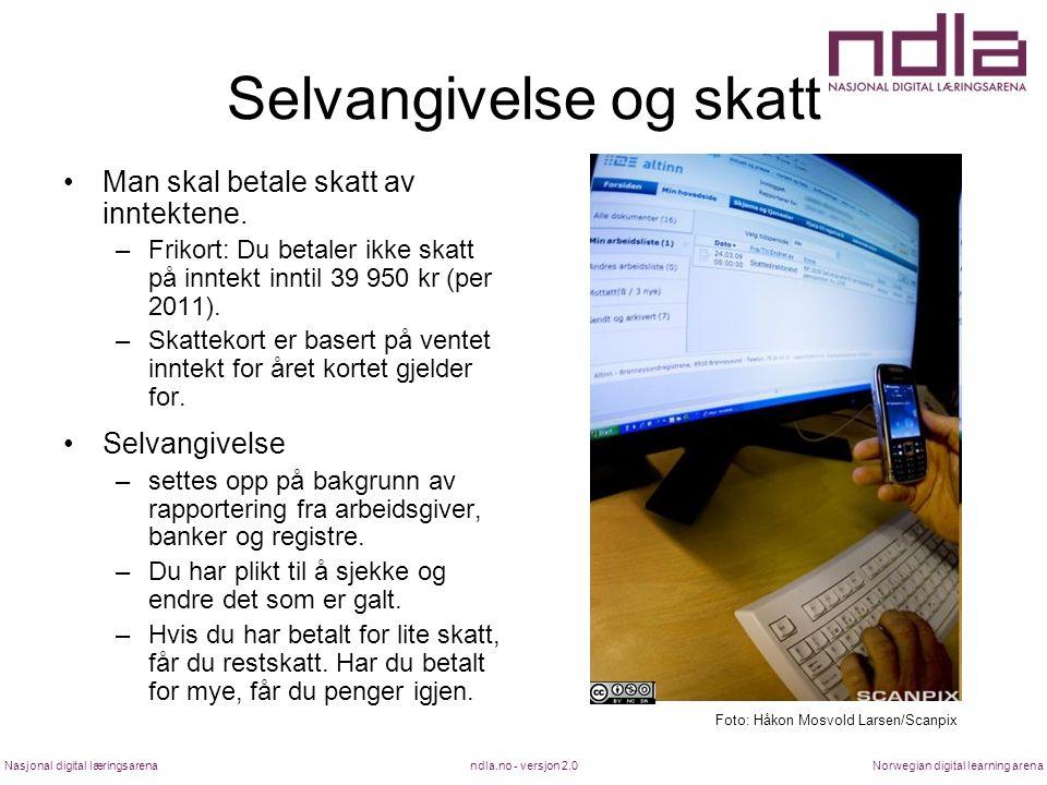 ndla.no - versjon 2.0Nasjonal digital læringsarenaNorwegian digital learning arena Selvangivelse og skatt Man skal betale skatt av inntektene.